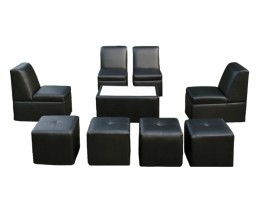 8 People Lounge set in black