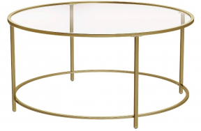 """36"""" Round coffe table - Gold/Glass"""