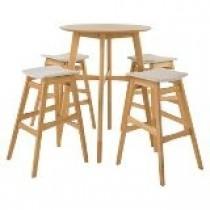 Natural bar table with 4 wood stools set