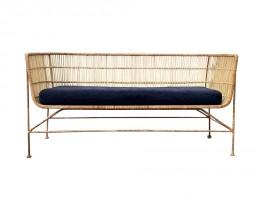 Natural Rattan Sofa - black cushion