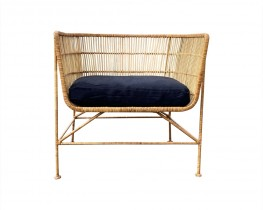 Natural Rattan Chair with Black