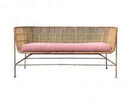 Natural Rattan Sofa - Pink cushion
