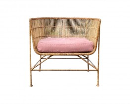 Natural Rattan Chair with  pink