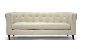 Beige Linen Sofa for 3