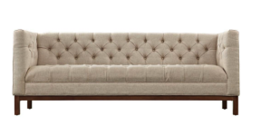 Beige tufted button sofa for 3