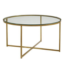 "36"" Round coffe table - Gold/Glass"