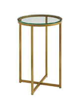 "16"" tall side table - Gold/Glass"