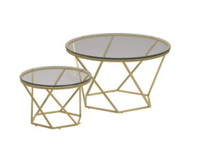Coffee tables pair - gold/glass