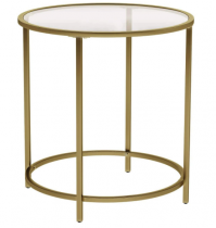 """16"""" tall side table - Gold/Glass"""